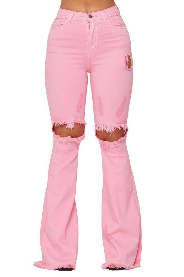 KNEE RIP FLARE JEAN IN BUBBLE GUM PINK