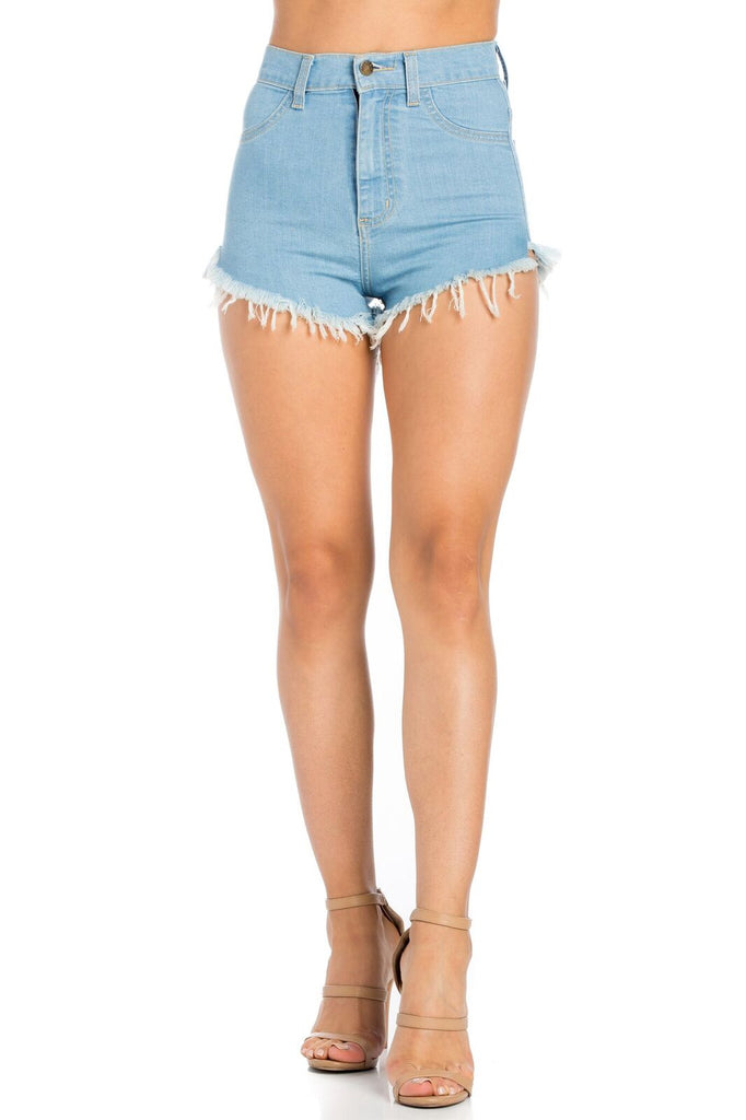 Kim High Rise Denim Short in Light Blue