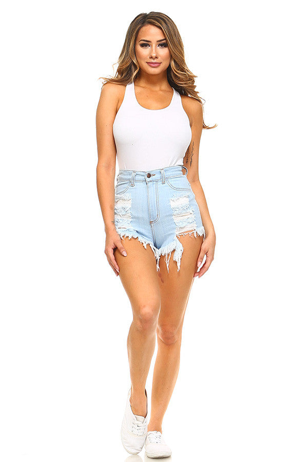 Aby High Rise Short in Light Blue