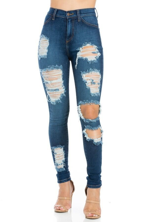 Samantha High Rise Skinny Jean Dark Blue
