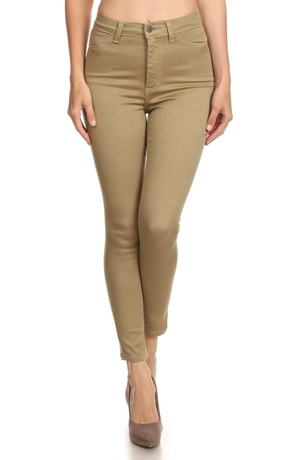 Cropped Olive High Rise Jean