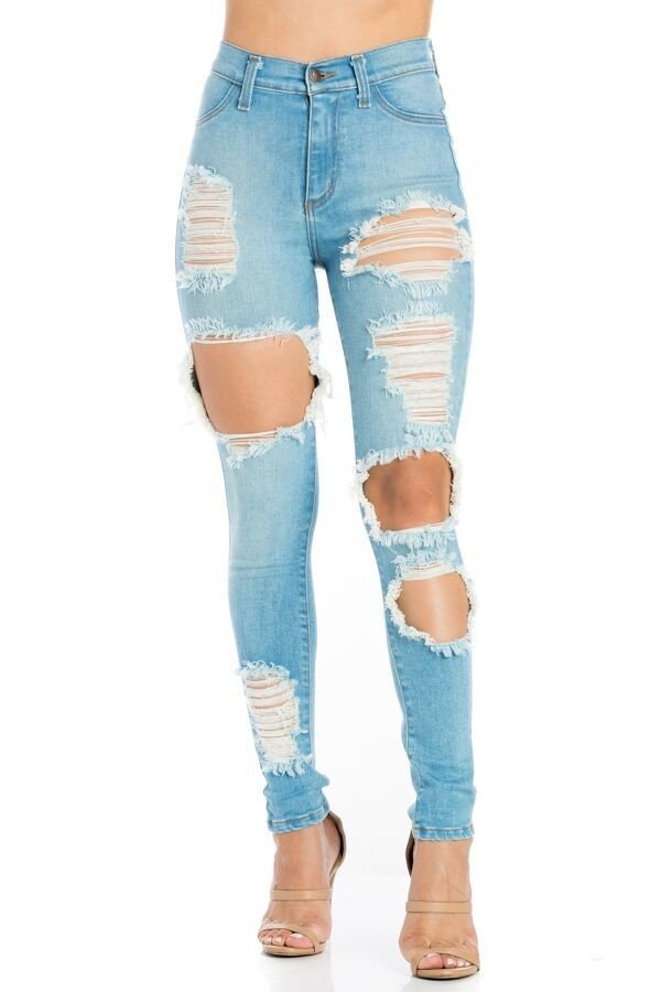 Samantha High Rise Skinny Jean in Light Blue
