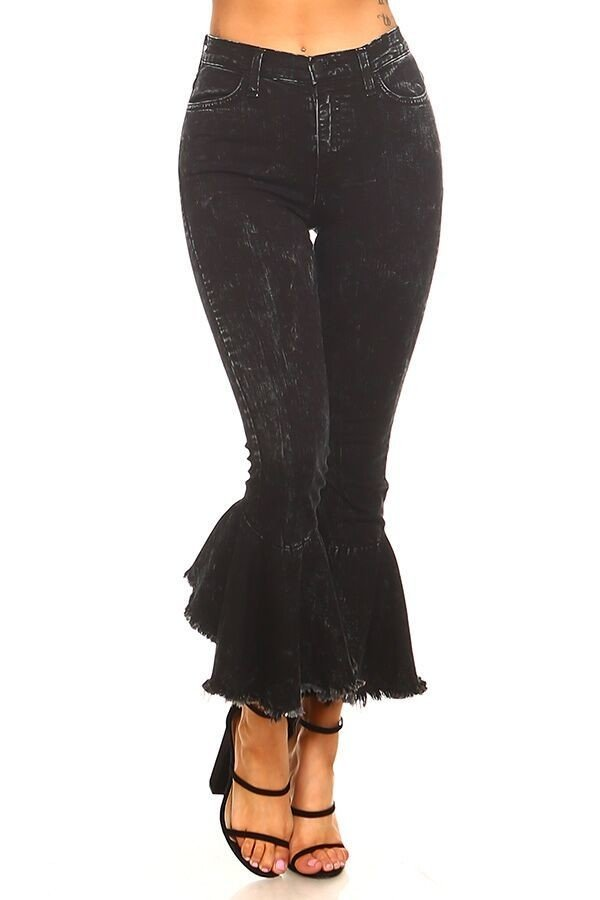 Ruffle Flare Jean in Mineral Black