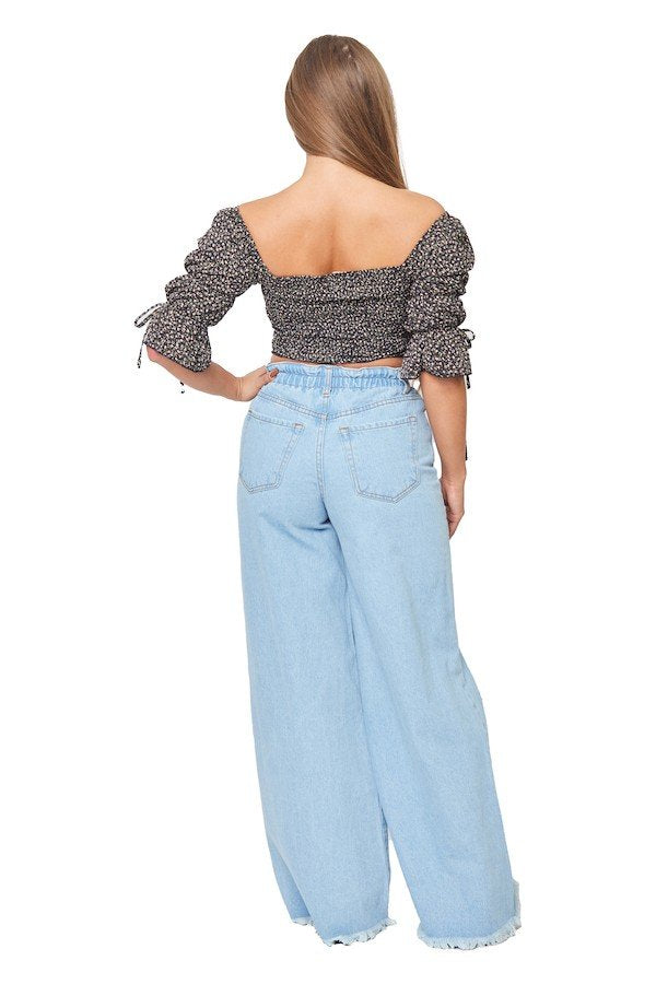 Wide Leg Ripped Vintage Pants in Light Denim