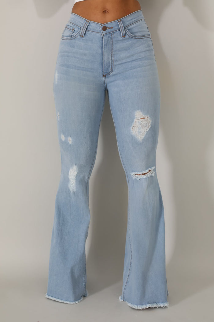 Skylar Flare Denim Jean In Super Light