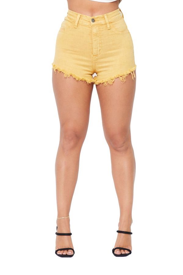 Vintage Yellow High Rise Denim Short