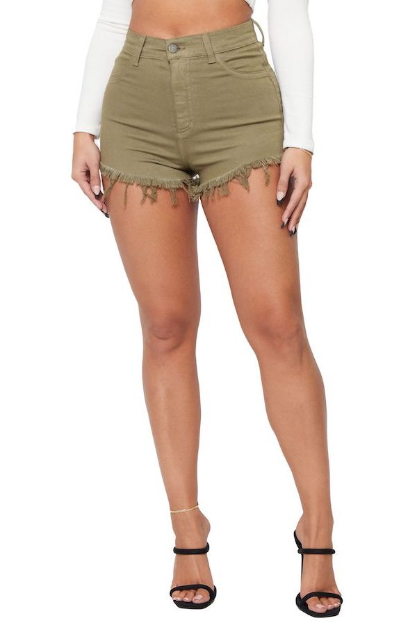 Olive High Rise Denim Short