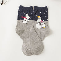 2021 New Autumn and Winter Women Mumin Moomin Socks Hippo Japanese Cartoon Animal Funny Middle Tube Footwear