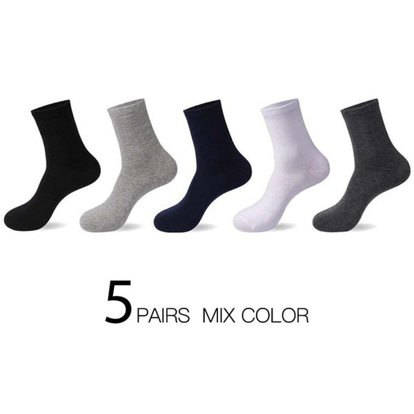 HSS 2020 High Quality Casual Men's Business Socks Summer Winter Cotton Socks Quick Drying Black White Long Sock Plus Size US7-14