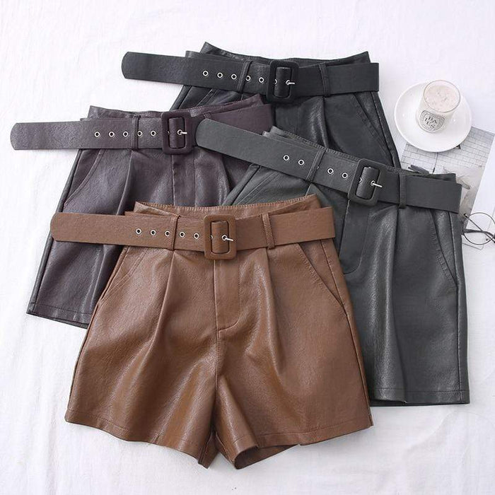 Agracei Trends 2020 New PU Leather Shorts Women Shorts All-match Sashes Wide Leg Short Ladies Sexy Leather Shorts Autumn Winter
