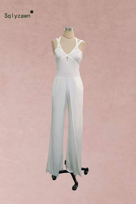 Agracei Trends 2020 Women Elegant Fashion Summer  White Jumpsuit Cutout Crisscross Bandage One Piece Overalls Party Female Wide Leg Jumpsuits