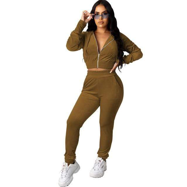 Agracei Trends 3197 Brown / S Velvet Two Piece Set Women Rave Festival Clothing Full Sleeve Hooded Short Coat And  Elastic Waist Biker Short Velour Tracksuits