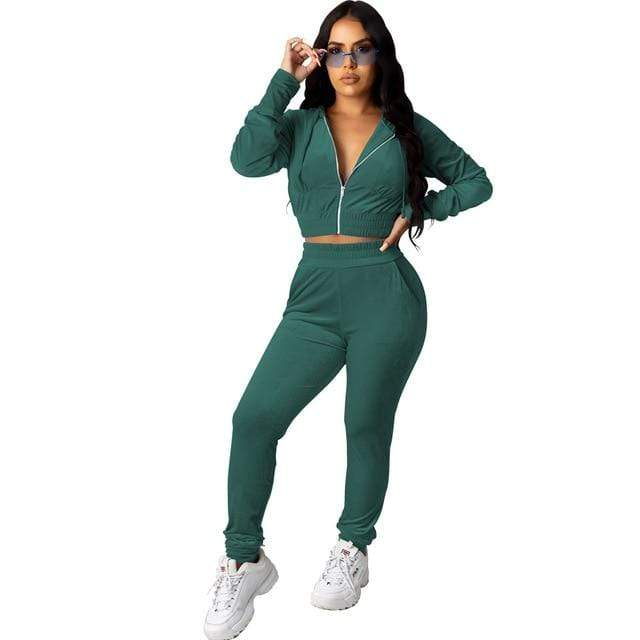 Agracei Trends 3197 Green / S Velvet Two Piece Set Women Rave Festival Clothing Full Sleeve Hooded Short Coat And  Elastic Waist Biker Short Velour Tracksuits