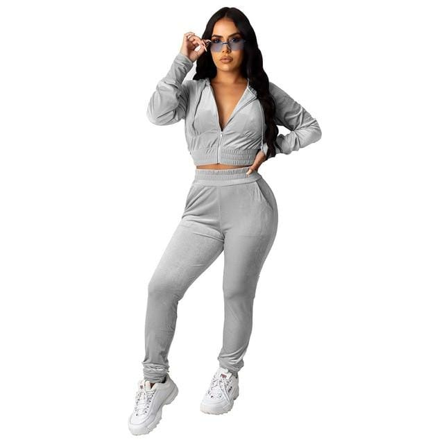 Agracei Trends 3197 Grey / S Velvet Two Piece Set Women Rave Festival Clothing Full Sleeve Hooded Short Coat And  Elastic Waist Biker Short Velour Tracksuits