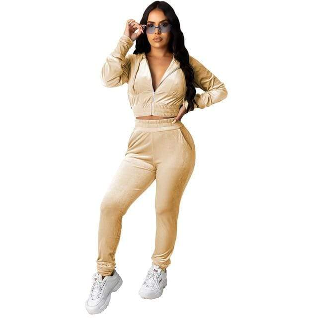 Agracei Trends 3197 Khaki / S Velvet Two Piece Set Women Rave Festival Clothing Full Sleeve Hooded Short Coat And  Elastic Waist Biker Short Velour Tracksuits