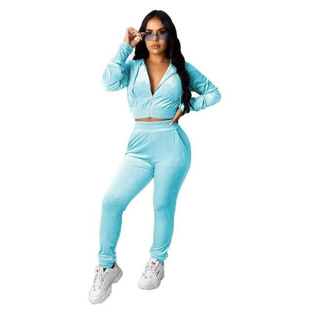 Agracei Trends 3197 Light Blue / S Velvet Two Piece Set Women Rave Festival Clothing Full Sleeve Hooded Short Coat And  Elastic Waist Biker Short Velour Tracksuits