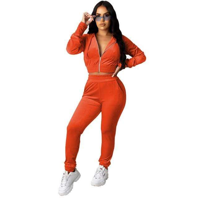 Agracei Trends 3197 Orange / S Velvet Two Piece Set Women Rave Festival Clothing Full Sleeve Hooded Short Coat And  Elastic Waist Biker Short Velour Tracksuits