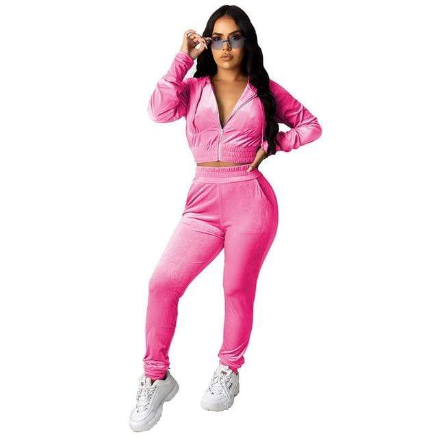 Agracei Trends 3197 Rose Red / S Velvet Two Piece Set Women Rave Festival Clothing Full Sleeve Hooded Short Coat And  Elastic Waist Biker Short Velour Tracksuits