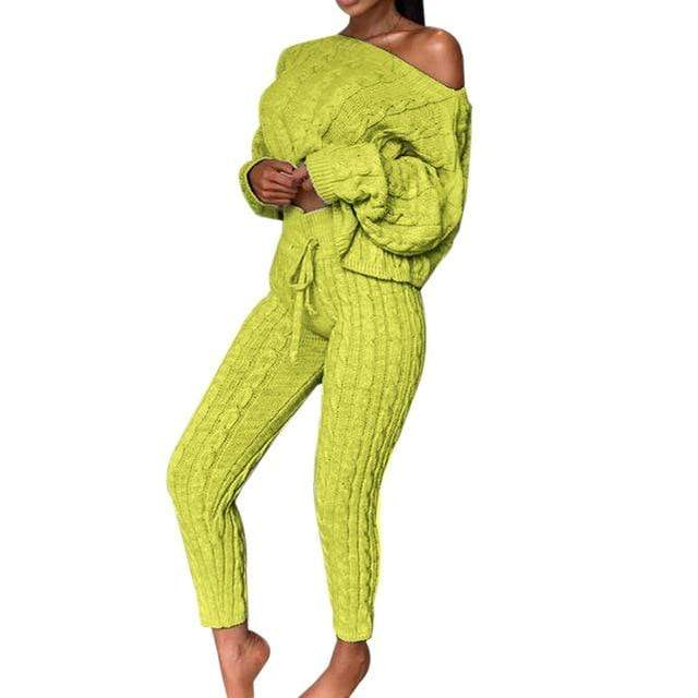Agracei Trends A / M / China 2020 New Womens Ladies Solid Off Shoulder Cable Knitted Warm Loungewear Set Autumn Sweater Women Sweater Winter Clothes Suit