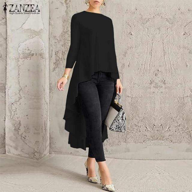 Agracei Trends A Solid  Black / S Asymmetrical Tunic Tops Women's Blouse Spring Chemise 2020 ZANZEA Pleated Long Sleeve Shirt Female Swallowtail Blusas Oversized