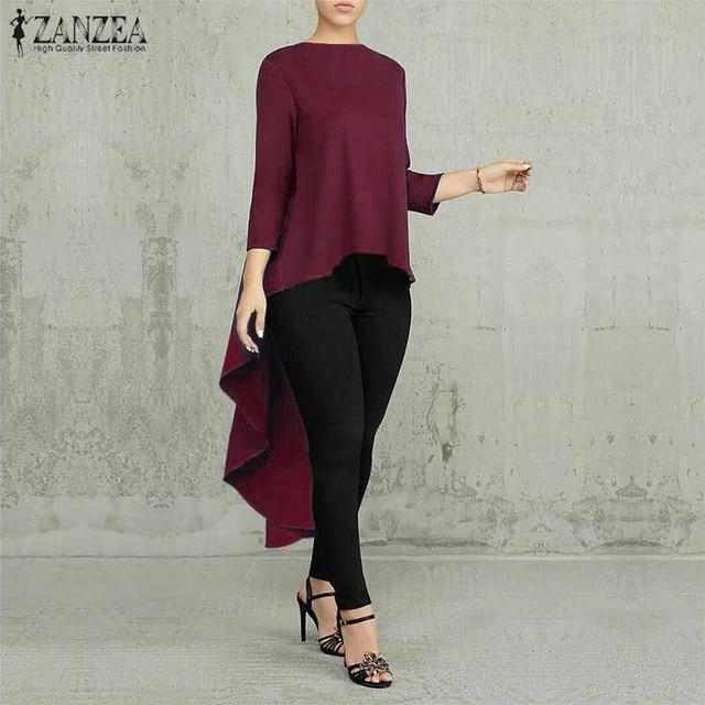 Agracei Trends A Solid  Wine Red / S Asymmetrical Tunic Tops Women's Blouse Spring Chemise 2020 ZANZEA Pleated Long Sleeve Shirt Female Swallowtail Blusas Oversized