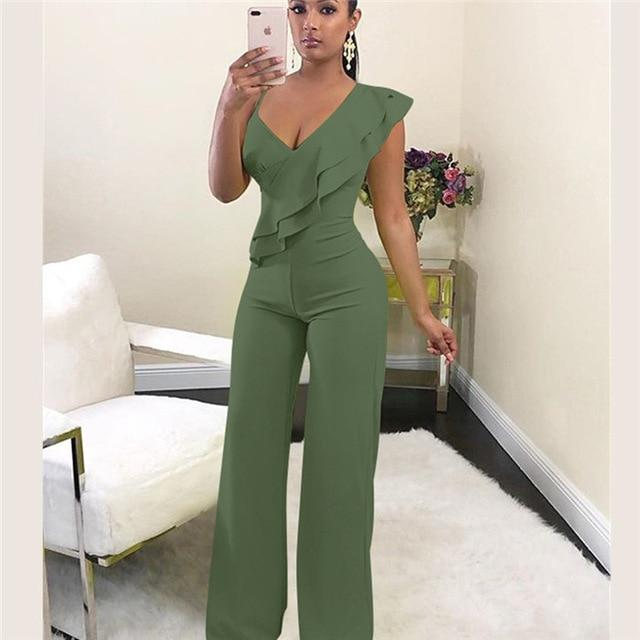 Agracei Trends Army Green / L Summer Off shoulder women jumpsuit Elegant stylish jumpsuit Layered ruffles high waist jumpsuits Female overalls streetwear