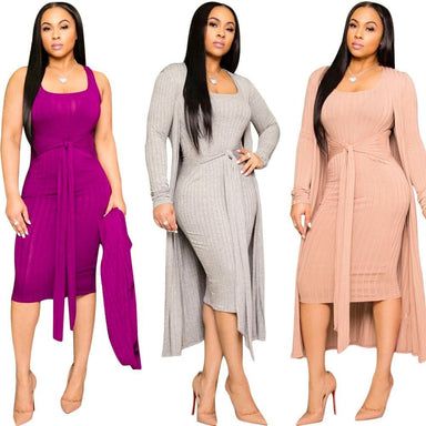 Agracei Trends Autumn Knitted Sweater Bodycon Sleeveless Dress Long Cardigans Coat 2 Piece Set Ribbed Dress Belt Vintage Vestidos