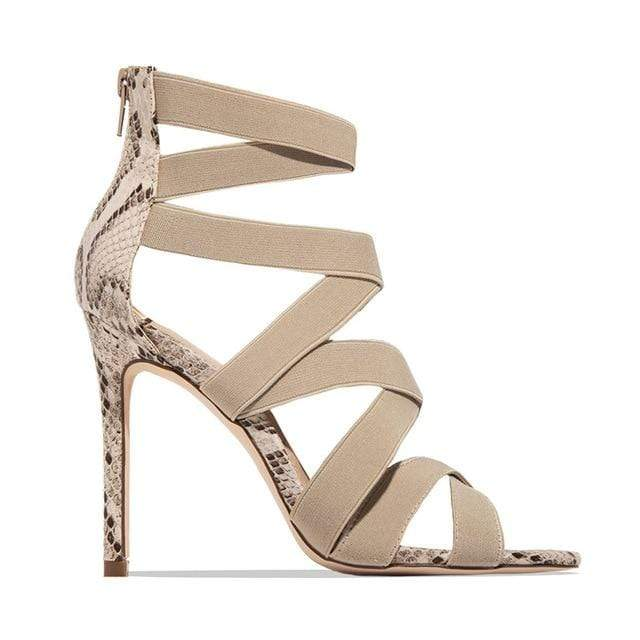 Agracei Trends Beige / 36 Woman Pumps High Thin Heels Pointed Toe Rhinestone Gladiator Pumps Party Sexy Shoes Prom Shoes