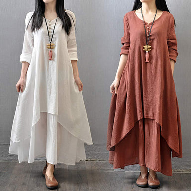 Agracei Trends Big Size Maxi Dresses Women False Two-piece Long Sleeve Cotton Linen Dress Casual White Boho Oversized Summer Dress 4XL 5XL