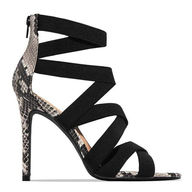 Agracei Trends Black / 36 Woman Pumps High Thin Heels Pointed Toe Rhinestone Gladiator Pumps Party Sexy Shoes Prom Shoes