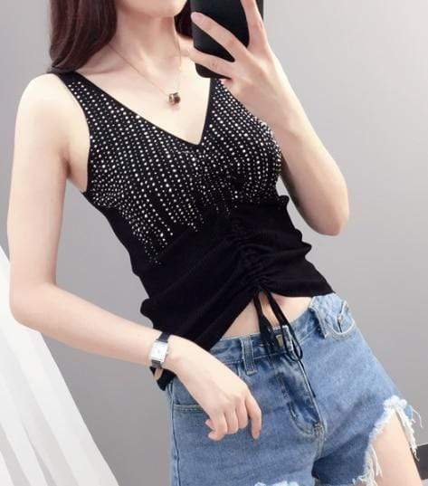 Agracei Trends black drawstring / One Size Summer New Fashion Camisole Tanks T Shirts Women Heavy-duty Ironing and Drilling Knitting Tops