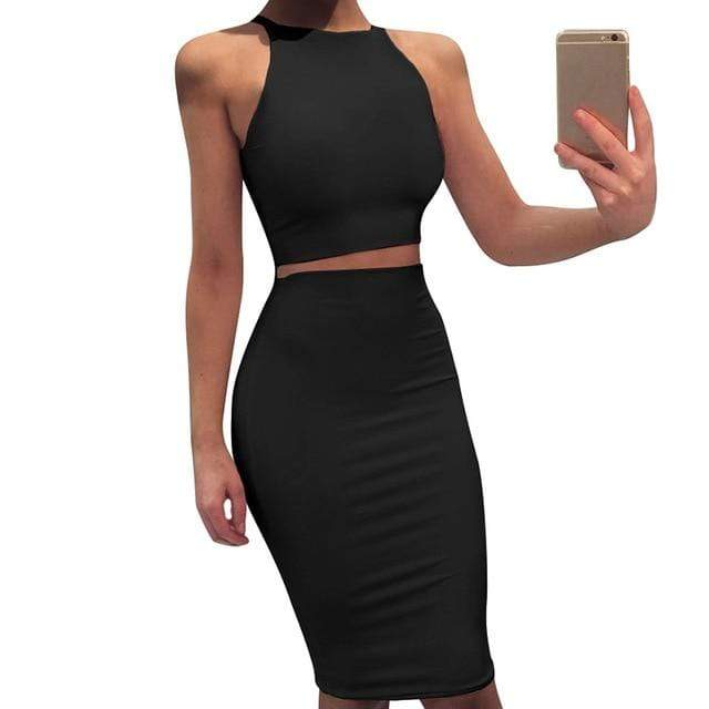 Agracei Trends Black / L 2020 Sexy Summer Two Piece set dress Crop Tops sheath set Mini bandage Dress Sleeveless party Vestidos robe femme ete