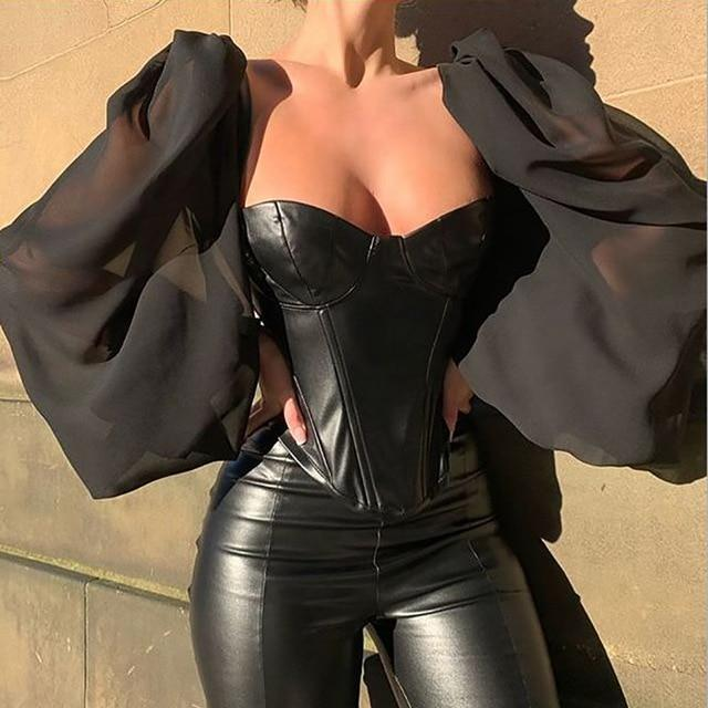 Agracei Trends black / L Cryptographic Square Collar PU Leather Sexy Backless Puff Sleeve Blouses Women Off Shoulder Tops Female Shirts Blusa Sheer Mesh