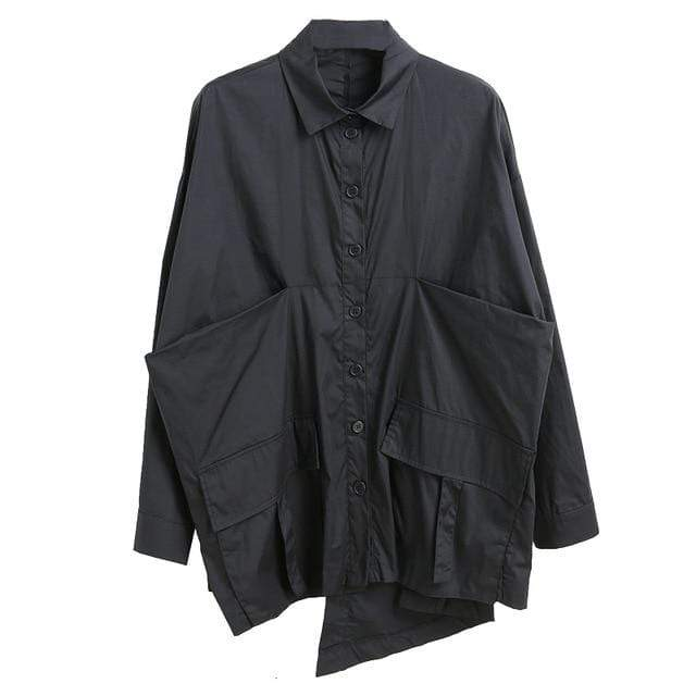 Agracei Trends black / L [EAM] Women Pocket Spliced Oversize Irregular Blouse New Lapel Long Sleeve Loose Fit Shirt Fashion Tide Spring Autumn 2020 1B236