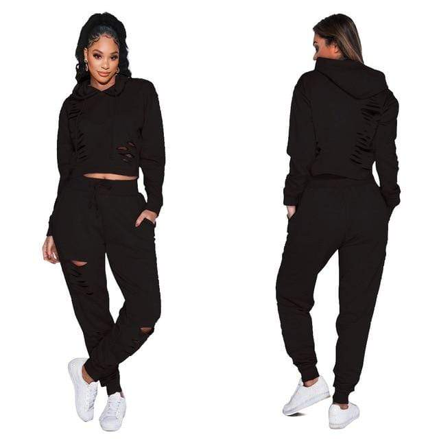 Agracei Trends Black / L Fashion Black Blue Ripped Sport Two Piece Pants Set Women Autumn Winter Hooded Sweatshirt + Jogger Black Blue Tracksuit Outfits