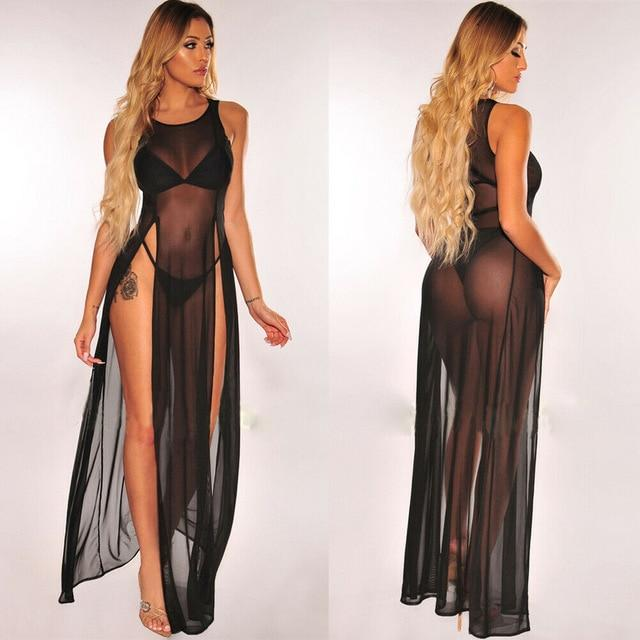 Agracei Trends Black / L Women's Bikini Swimsuit Cover up Silk Summer Beach Wear Mesh Sheer Long Dress Summer Bathing Suit Holiday Hot One Piece