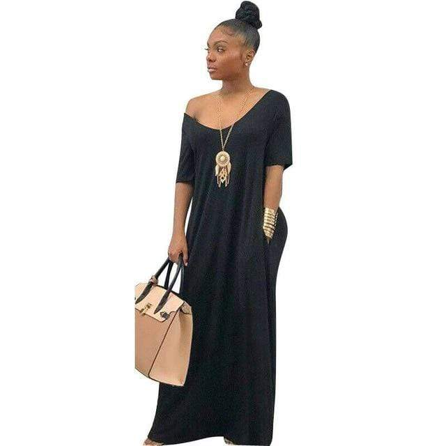 Agracei Trends Black / L Women's Long Maxi Dress Off Shoulder Bodycon Dress Ladies Autumn Casual Dress Party Dress Warm Cotton Winter Dress Oversize hot