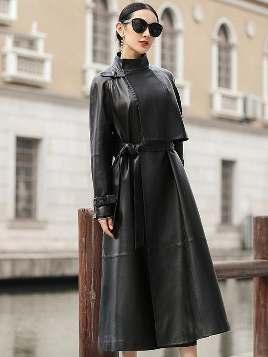 Agracei Trends black long faux leather trench coat for women belt Raglan sleeve spring autumn coat women plus size loose overcoat