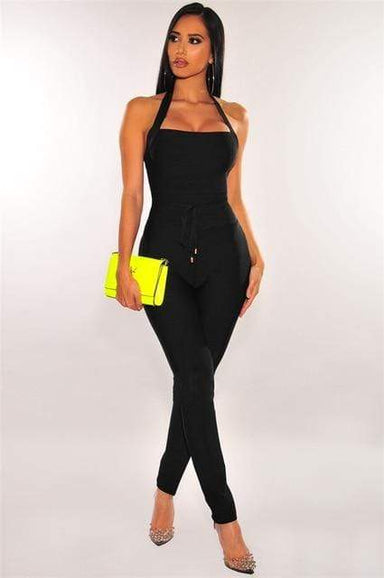Agracei Trends Black / M / 176 High Quality Nude Black Halter Bandage Jumpsuit Rayon Elegant Celebrity Woman Party Wear Vintage Bodycon Romper Long Pants
