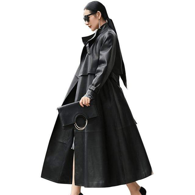 Agracei Trends Black / M black long faux leather trench coat for women belt Raglan sleeve spring autumn coat women plus size loose overcoat