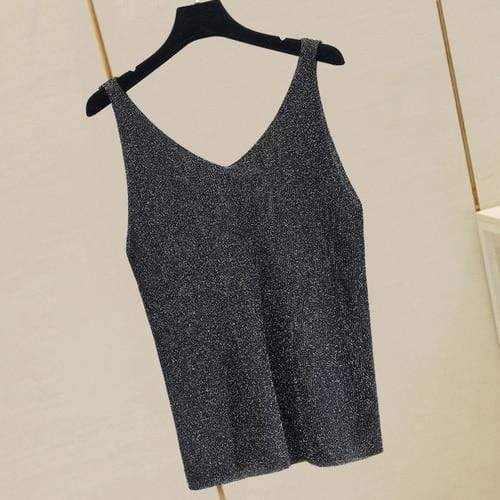 Agracei Trends black / One Size Summer New Fashion Camisole Tanks T Shirts Women Heavy-duty Ironing and Drilling Knitting Tops