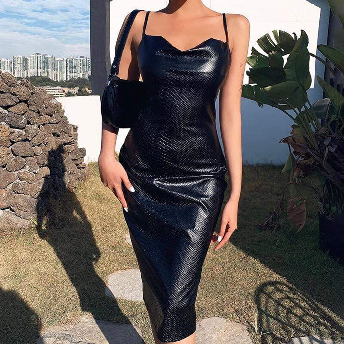 Agracei Trends Black Pu Leather Knee-Length Bodycon Dress Women Spaghetti Slim Party Elegant Lady Backless Summer Dress Sexy Clothes