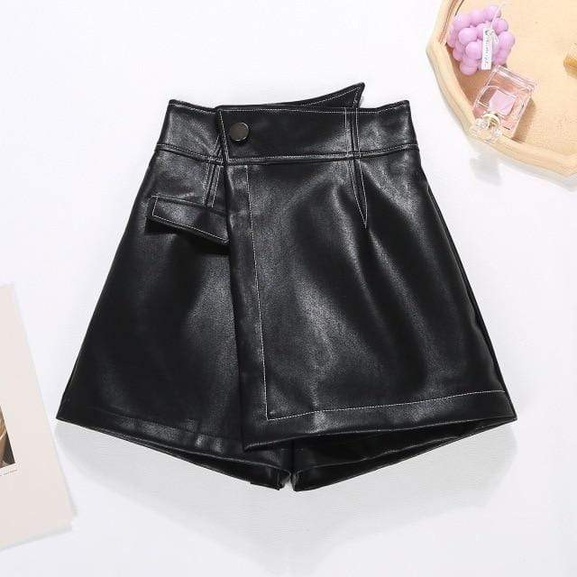 Agracei Trends black / S 2020 New PU Leather Shorts Women Shorts All-match Sashes Wide Leg Short Ladies Sexy Leather Shorts Autumn Winter