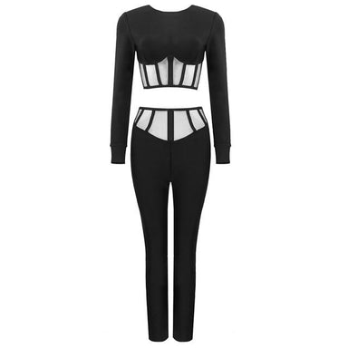 Agracei Trends Black / S Chic Black Two Pieces Suit Striped Design Mesh Patchwork Long Sleeves Celebrity Party Bandage Crop Tops Pants Suit
