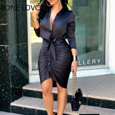 Agracei Trends Black / S Lace-up Solid Color Long Sleeve Midi Dress  Shirt Dress Elegant Fashion Party Dress