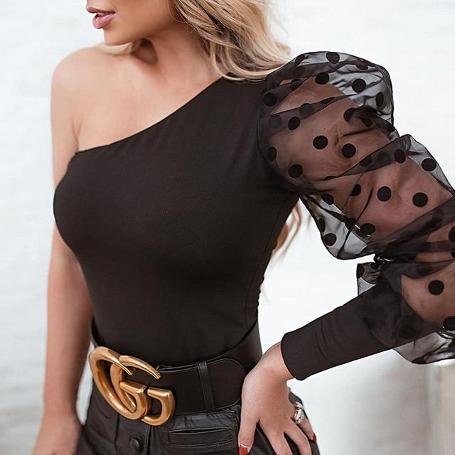 Agracei Trends Black / S WannaThis Puff Sleeve Patchwork Dot Print Women Blouse Elegant Sexy One-Sleeve Skew Neck Off Shoulder Slim Fashion Spring New
