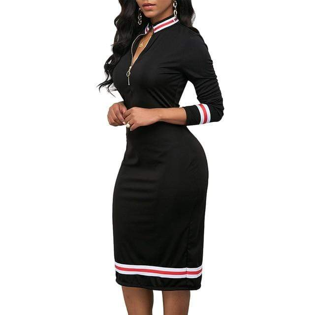 Agracei Trends Black / XXL / China 2020 Spring Women Long Sleeve Sport Style Dress Silver Zipper Half Neck Stripe Color Matching Dress Stretch Bodycon D30