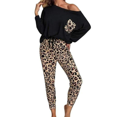 Agracei Trends black / XXL / United States Leopard Homewear Suits Women Autumn Casual T Shirts Drawstring Sweatpants Lounge Wear Fashion Pajama Sets Elastic Sleepwear