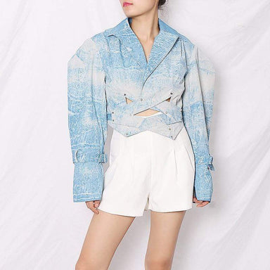 Agracei Trends Blue Jackets For Women Lapel Long Sleeve Print Hit Color Hollow Out Lace Up Short Vintage Coats