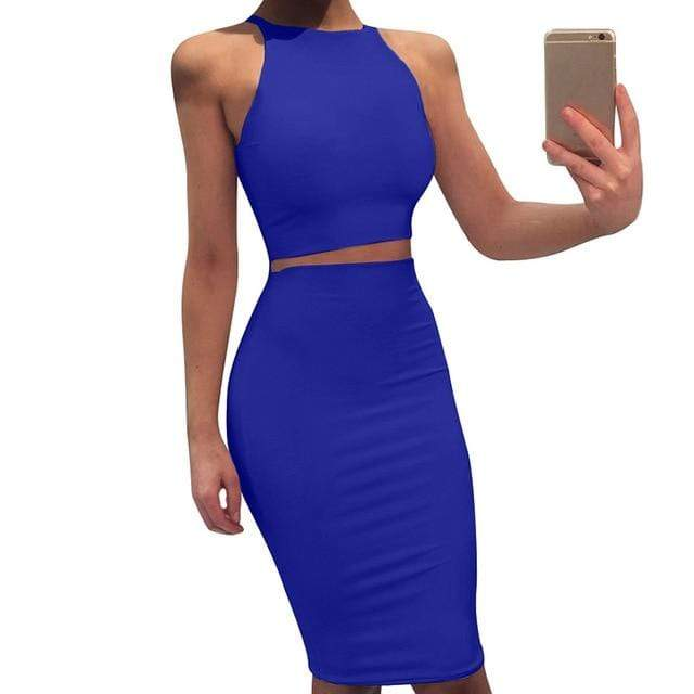 Agracei Trends Blue / L 2020 Sexy Summer Two Piece set dress Crop Tops sheath set Mini bandage Dress Sleeveless party Vestidos robe femme ete